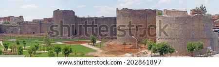 Medieval walls and towers, originally built in 4th century then restored in 11th century  Diyarbakir, Turkey  - stock photo