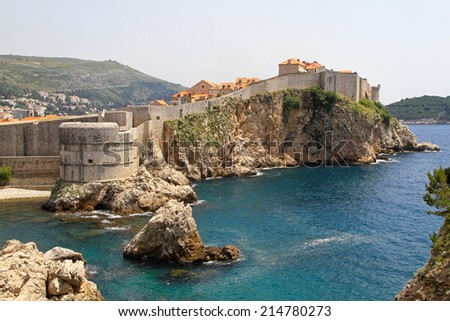 Medieval walls UNESCO Heritige Site in Dubrovnik Croatia - stock photo