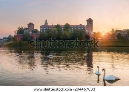 Medieval Wawel castle on Wawel on sunrise in Krakow, Poland - stock photo