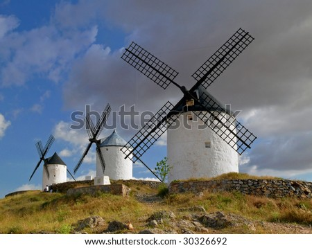medieval windmills of La Mancha, Spain - stock photo