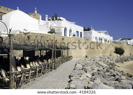 Medina and Sidi Bou Hedid cafe. Hammamet. Tunisia - stock photo