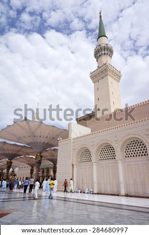 MEDINA, SAUDI ARABIA-CIRCA MAY 2015: Beautiful fisheye view of Nabawi Mosque on MAY, 2015 in Medina, Saudi Arabia .The Nabawi mosque is the second holiest mosque in Islam. - stock photo