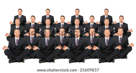 meditating businessmen crowd collage - stock photo