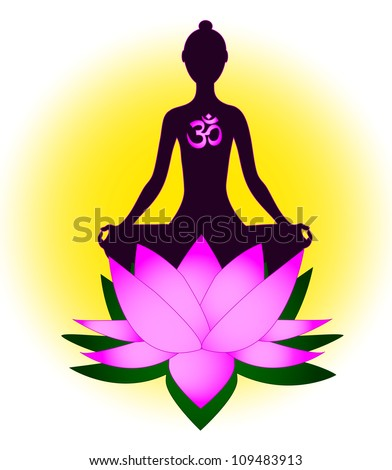 Meditating woman with om symbol and lotus - stock photo