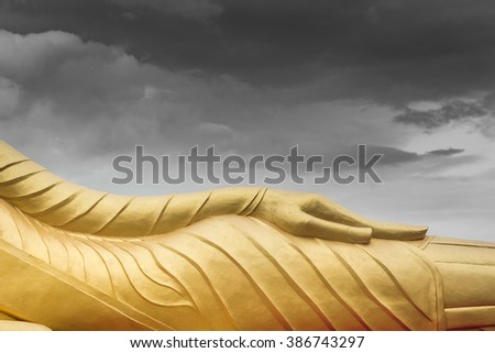 Meditation and Consciousness by Buddhism statue - stock photo