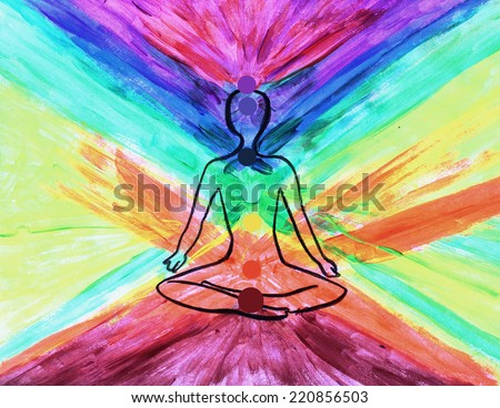Meditation background or Yoga, Meditating - stock photo