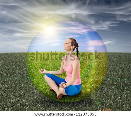 meditation bubble - stock photo