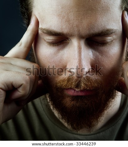 Meditation concept - face of peaceful serene male - stock photo