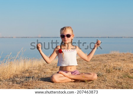 meditation in lotus position - stock photo