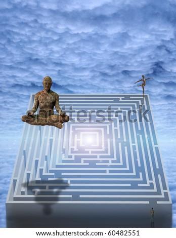 Meditation man and puzzle - stock photo
