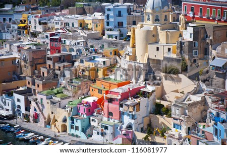 Mediterranean architecture of Procida island, Italy - stock photo