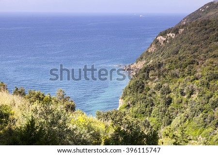 Mediterranean coast near Bagnaia, Elba island, Elba, island, Italy, Europe - stock photo