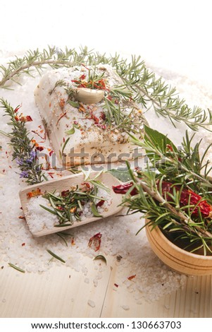 Mediterranean diet, bacon with herbs. - stock photo