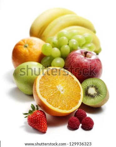mediterranean fruits isolated - stock photo