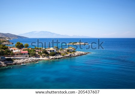 Mediterranean landscape in Greece. Zakynthos island - stock photo
