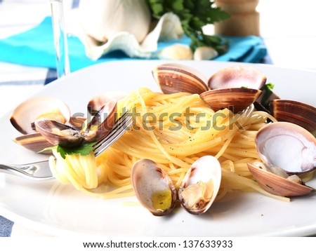 mediterranean noodle pasta with mussels - stock photo