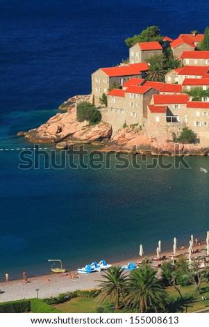 Mediterranean resort on the Sveti Stefan island - stock photo