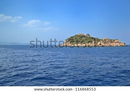 Mediterranean rocky islands near Turkish coastline on neighborhood of Kekova - stock photo