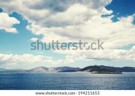 Mediterranean Sea  background.Clear dark blue water.Greece landscape. - stock photo