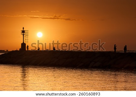 Mediterranean Sea Coast line near Rimini, Italy - stock photo