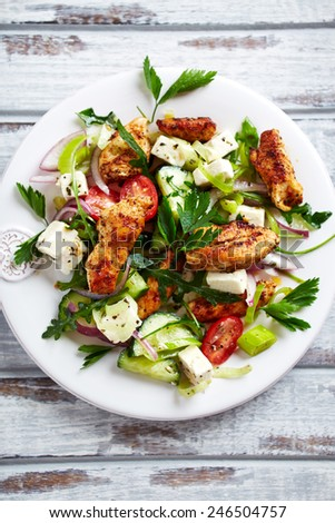 Mediterranean-style chicken salad with feta cheese and fresh herbs - stock photo