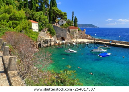 Mediterranean vegetation around small harbor sheltered by the hills near the Adriatic sea, Trsteno, Croatia - stock photo