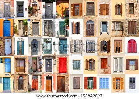 Mediterranean windows and doors - stock photo