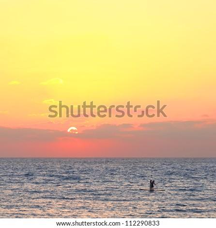 Mediterranean yellow sunset - stock photo
