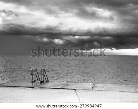 mediterraneasn sea at a stormy day  - stock photo