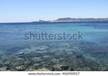 Mediterranee sea landscape and view upon La ciotat, France - stock photo