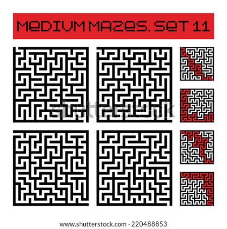 medium mazes set 11  - stock photo