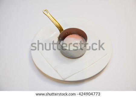 medium rare egg - stock photo