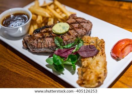 Medium rare grilled beef  Sirloin steak - stock photo