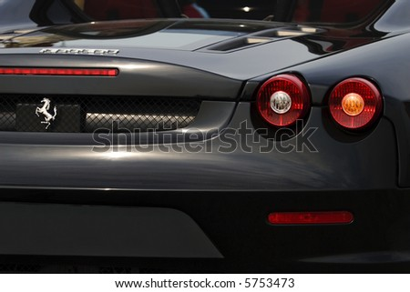 medium shot of rear part ferrari f430 spider - stock photo