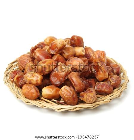 medjool dates on white background - stock photo