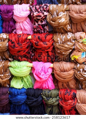 Medley of colorful scarfs - stock photo