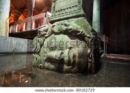 Medusa haed in The Basilica Cistern, Istanbul, Turkey. - stock photo