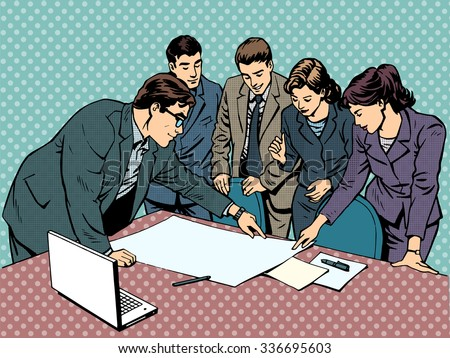 meeting brainstorming office business concept businessmen and businesswomen - stock photo