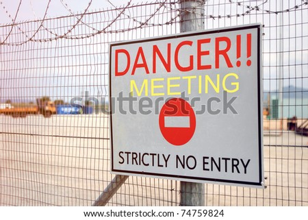 Meeting danger no entry sign - stock photo