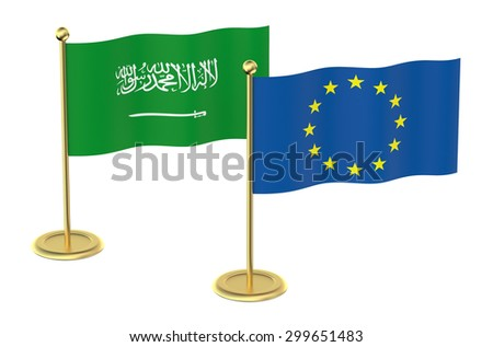 meeting EU with Saudi Arabia concept isolated on white background - stock photo