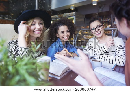 Meeting friends and education in the best combination - stock photo