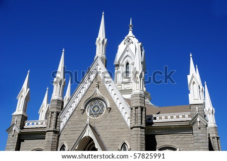Meeting Hall at Mormon Temple Square in Salt Lake City - stock photo