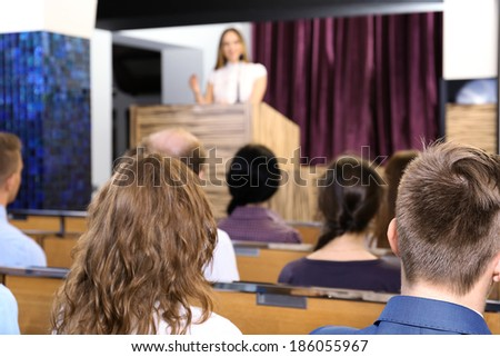 Meeting in conference hall - stock photo
