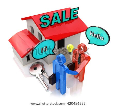 Meeting of buyer and seller in the design of the information related to the sale of Real Estate. 3d illustration - stock photo