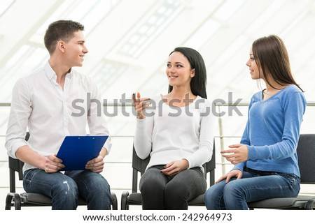 Meeting of support group, group discussion or therapy. - stock photo