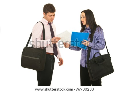 Meeting of two business people ,business woman giving contract to business man isolated on white background - stock photo