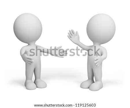 Meeting of two friends. 3d image. Isolated white background. - stock photo