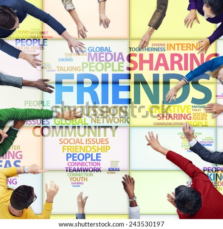 Meeting People Friends Sharing Social Media Community Concept - stock photo
