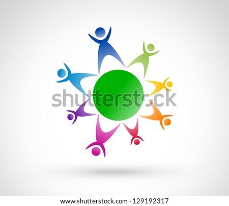 Meeting people. Icon design - stock photo