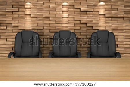 Meeting room. chairs at table. wooden planks pattern on wall. 3D rendering - stock photo